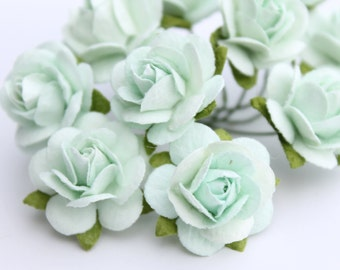 Mint green flower embellishments - decorations for favors, cards, thank you tags, gift tags, wedding decorations and more