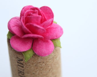 Fuchsia rose embellishments - decorations for favors, cards, thank you tags, gift tags, wedding decorations and more