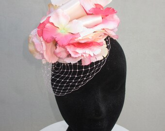 Pink Floral Fascinator Hat Races Weddings Special Events