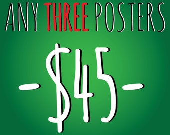 Any Three A3 (11.7 x 16.5 inch) Posters for 45 Dollars