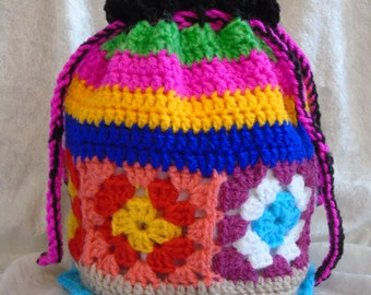 Funky Boho/Hippy Hand Crocheted bag with cotton lining with pocket.