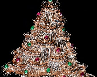 Vtg Christmas Tree Pin Ruffled Boughs Goldtone Red/Green Enamel Accents