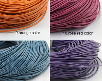 2mm leather cord,genuine leather string cord,orange color,rose red color,blue color,purple color,1yard,2yard,5yard,10yard,round leather cord