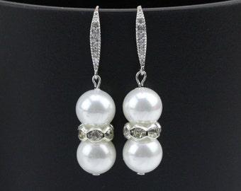 Double pearl earrings,Bridesmaid pearl earrings gift,bridal pearl earrings,crystal pearl earrings,rhinestone and pearl earrings wedding
