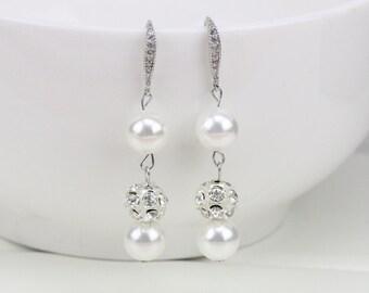 Wedding crystal earrings,cheap bridesmaid pearl earings,double pearl earrings,long bridal earrings handmade,bridal pearl earring,glass pearl