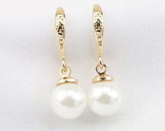 14K gold filled earrings,bridesmaid earrings,glass pearl earrings, bridal pearl earings,cheap southsea shell pearl earrings wedding gift