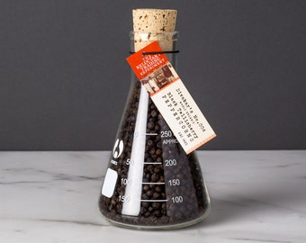 Large Tellicherry Peppercorns in Science Flask featuring Organic Whole, Black, Extra–Bold, Incredibly Aromatic Tellicherry Peppercorns