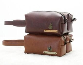 Dopp Bag, Mini Dopp Kit, Personalized Toiletry Bag, Shaving Bag, Engrave Bag, Engraving Name