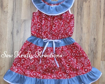 Children's - Red Bandana Print and Denim Dress