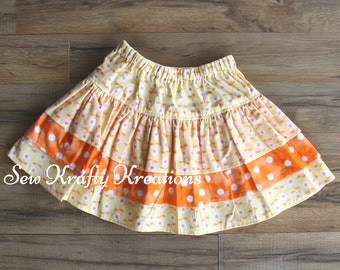 Girl's Skirt - Yellow Floral Print and Bright Orange with White Spots