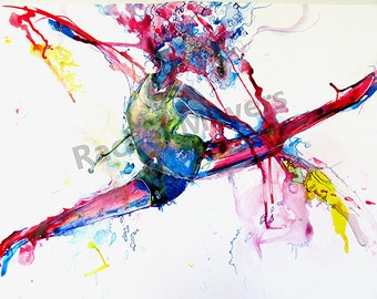 Dance,Leaping Dancer drawing-Abstract Dance ART, wall art, dancer art print, red, blue, yellow