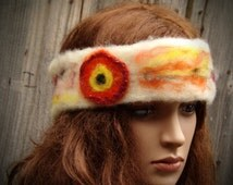 FLORAL WHITE KNIT Headband Ear Warmer Head Headband Wide Headband Workout Headband Best Selling Items Boho Cool Hairband Hippie Modern
