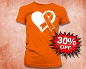 SALE Rsd ADHD Self Injury Crps Multiple Sclerosis Kidney Cancer Leukemia Orange Awareness Ribbon Cotton Men's Women's Kid's Tshirt Outlet