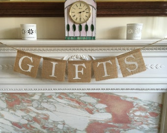 GIFTS burlap banner. Handmade with love.