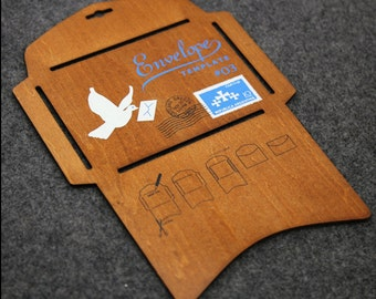 Japanese Wood Envelope Template Antique Wooden DIY Envelope --Big Size