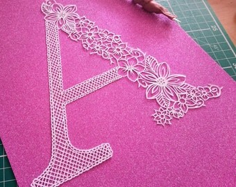 DIY Papercut Template - Floral A Letter Cut Your Own Alphabet Initial Template