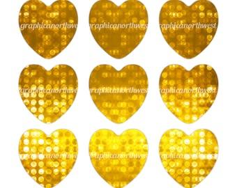 Digital File Instant download Gold Bokeh Hearts