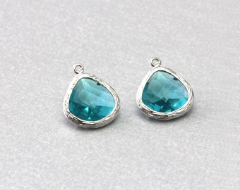 Blue Zircon Teardrop Glass Pendant . Polished Original Rhodium Plated . Brass Framed . 10 Pieces / G1004S-BZ010