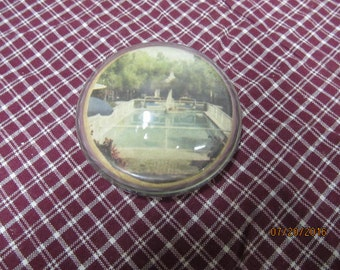 Vintage Round Glass Photograph Magnifying Paperweight Desk Accessory Office Decor Domed