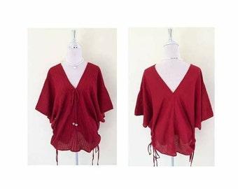 Crimson beautiful/bohemian women tops/summer tops/Tunics/ boho chic/Plus Size XS - 5XXL