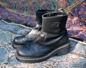 Size 8 Vintage 90s Dr Martens Black Zip Boots - Black Leather Moto Boots 8 - Black Doc Martens 8