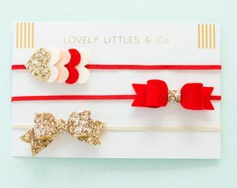 Baby/Girl, TALLULAH Red and Gold glitter felt hair bow, elastic headband and layered heart set.