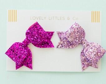 Set of 2 medium glitter hair bows - you choose the colour combo!!