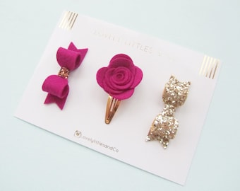 Lovely Littles and Co - Winter Berry Pie Selection!! Rose snap clip, wool felt bow, gold glitter bow