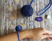 Unique Winter gift! Necklace and Bracelet in deep blue. Organic wool Necklace and Bracelet with lavender, for Throat, fifth Chakra healing