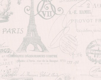 Pink French Script Fabric - By The Yard - Girl / Vintage / Fabric