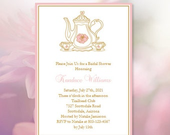 Bridal Shower Tea Party Invitations Bridal Shower Invitation Templates  Printable Shower Invitations DIY Cheap To Print