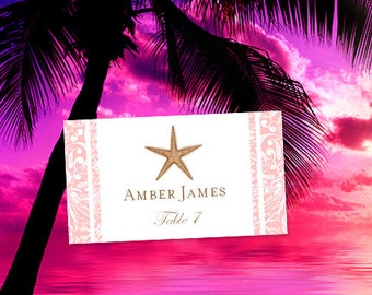 Tropical place cards etsy for Make your own wedding place cards