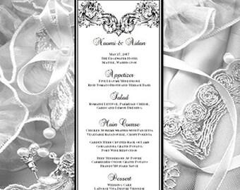 Printable Wedding Menu Template Vienna Black Worddoc Card Make Your