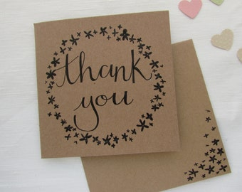 Thank You Floral Hand Illustrated Card