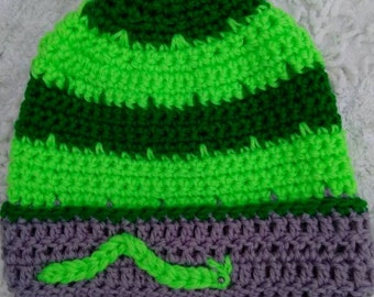Beanie Girls beanie Boys beanie Boys hat Girls hat Granny square hat Green hat Hand made hat Caterpillar hat Ready to ship Beanie