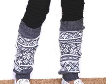 Leg warmers in grey  / Boot cuff / White and grey  boot socks / Urban clothing / Knit leg warmers / jacquard boot cuff