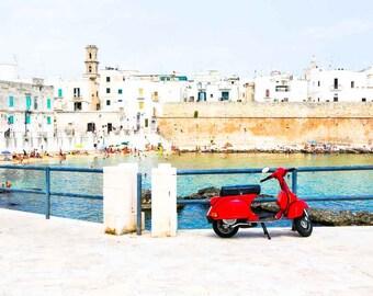 Monopoli Italy Photography, Red Vespa, Puglia, Italy Photography, Large Wall Art, Home Decor, Travel Photo