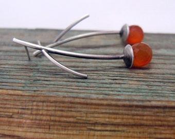 Sterlin Silver Carnelian Earrings