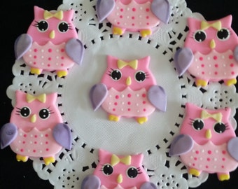 Owls Cake Toppers, Pink Owls Decoration, Owls First Birthday, Look Whos One, Baby Owls Favors, Owl Birthday Invite, Pink Owl Cupcake Toppers