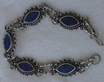 Vintage 1950's handmade silver chain bracelet five lapis lazuli links