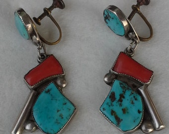 Vintage navajo sterling, turquoise and coral, abstract design dangle earrings.