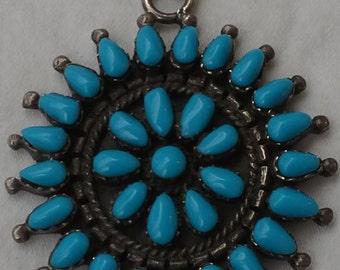 Vintage zuni sterling silver, turquoise, petit point pendant