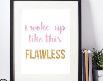 Watercolor print, printable art, Beyonce Print, I woke up like this, Beyonce Watercolor, Beyonce Lyric Art, Watercolor Lyric, Lyric Art