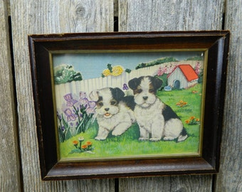 Vintage Fabric Embroidery Puppy Picture