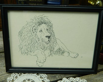 Vintage Etching of a Lion by Margaret Brown