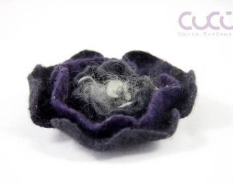 Felted brooch dark grey and violet flower brooch dark grey and violet flower brooch
