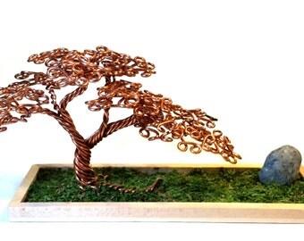 Offset Copper Wire Bonsai Tree
