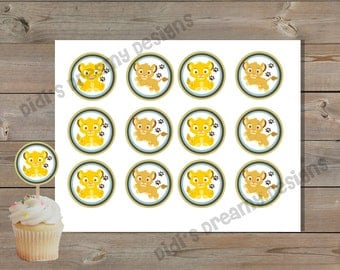 Lion King, Cupcake Topper, Gift Tags, Favor Sticker, Baby Shower, Birthday Party, Disney Inspired, Instant Download or Printed