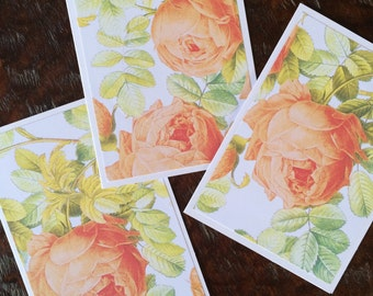 English Rose Stationary/6 cards 6 envelopes/Specialty Handmade Blank thank you Notecards/Bridal Shower Invitations/Greeting Floral Cards
