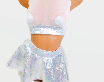 Holographic mini skater skirt and see trhu halter top/ rave  costume / rave attire / edc / micro mini skirt